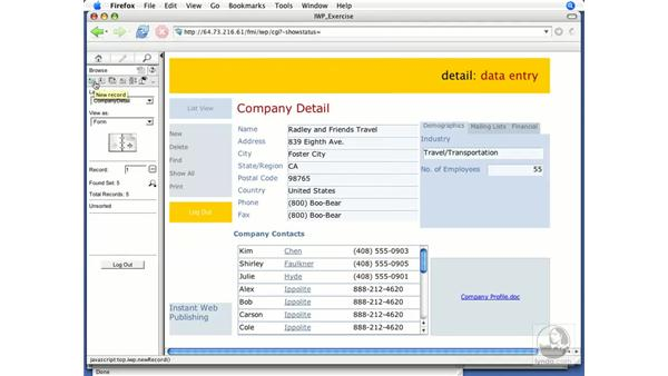 Browse mode: FileMaker 8.5 Web Publishing