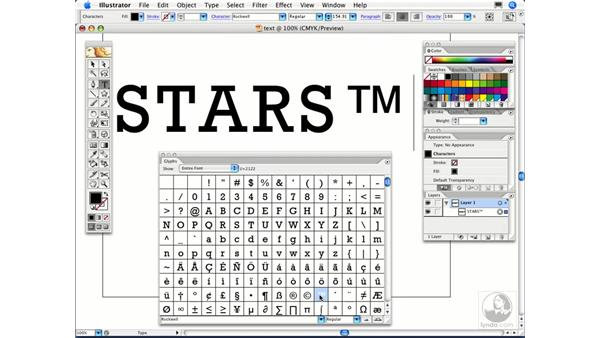 How can I find a specific character in a font to use in Illustrator?: Illustrator CS2 FAQs