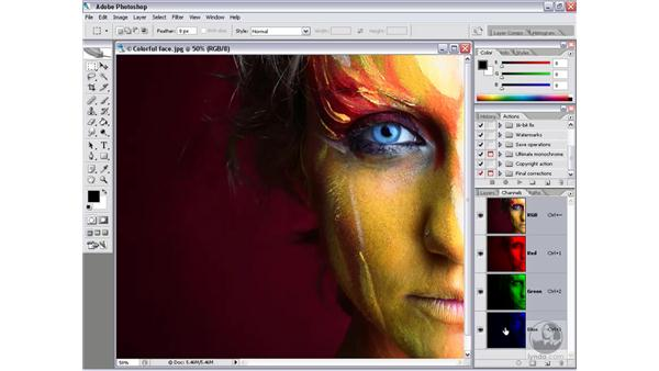 Single-channel grayscale: Photoshop CS2 Channels & Masks