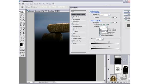 Adding a knockout mask: Photoshop CS2 Channels & Masks