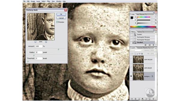 Sharpening an archival photograph: Photoshop CS2 Channels & Masks