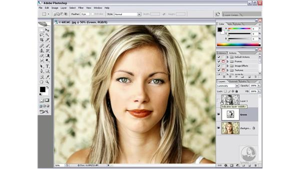 Bolstering contrast with the Green channel: Photoshop CS2 Channels & Masks