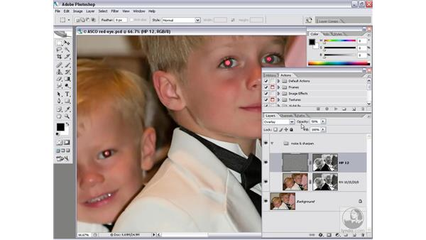 A simple approach to red-eye: Photoshop CS2 Channels & Masks