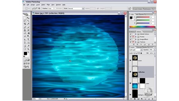 Mapping the reflection onto the water: Photoshop CS2 Channels & Masks