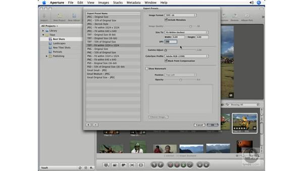Setting print resolution: Aperture 1.5 Beyond the Basics