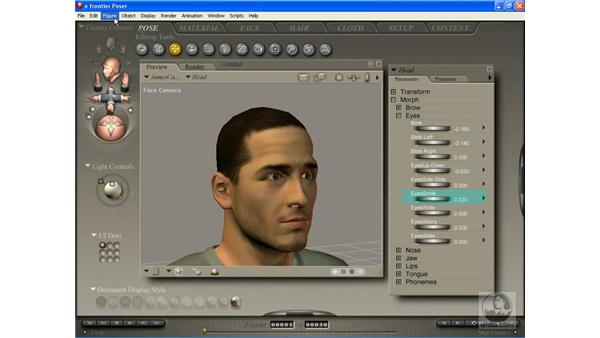 Facial expressions done manually: Poser 7 Essential Training