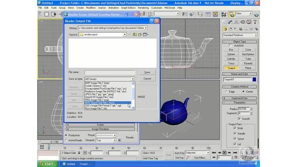 Default scanline rendering controls: 3ds Max 9 Essential Training