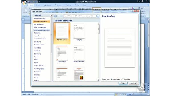 Creating new documents: Word 2007 Essential Training