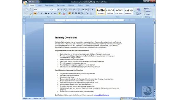 Importing documents: Word 2007 Essential Training