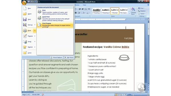 Using Print Preview: Word 2007 Essential Training
