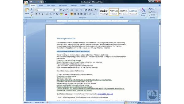 Formatting text: Word 2007 Essential Training