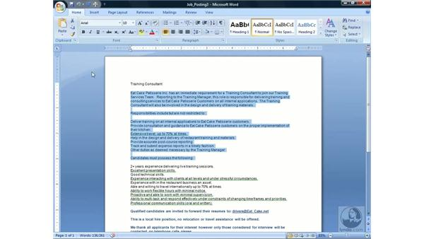 Copying, pasting, and moving text: Word 2007 Essential Training