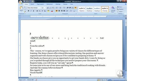 Showing formatting: Word 2007 Essential Training