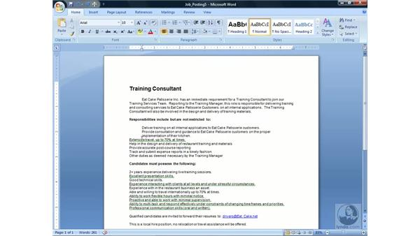 Using indents : Word 2007 Essential Training