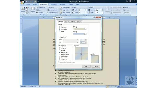 Applying a Page Background: Word 2007 Essential Training