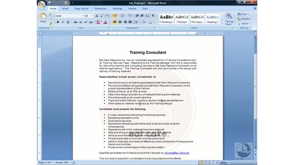 Finding synonyms: Word 2007 Essential Training