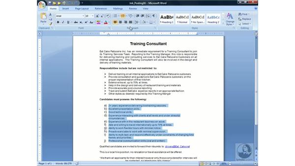 Creating a numbered list: Word 2007 Essential Training