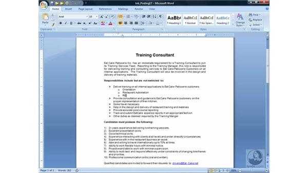 Editing a list: Word 2007 Essential Training