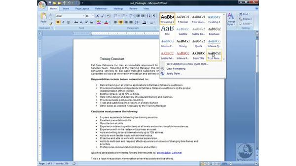 Using Styles: Word 2007 Essential Training
