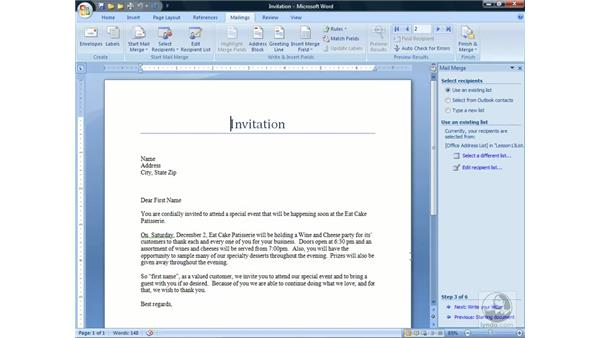 Creating a Mail Merge: Word 2007 Essential Training