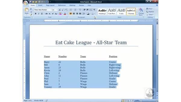 Sorting numbers: Word 2007 Essential Training
