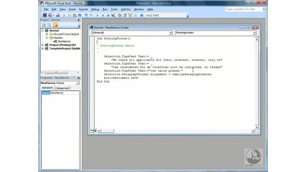 Editing a Macro: Word 2007 Essential Training