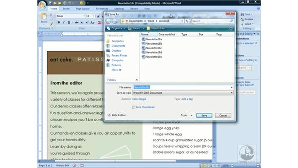 Password-protecting documents: Word 2007 Essential Training