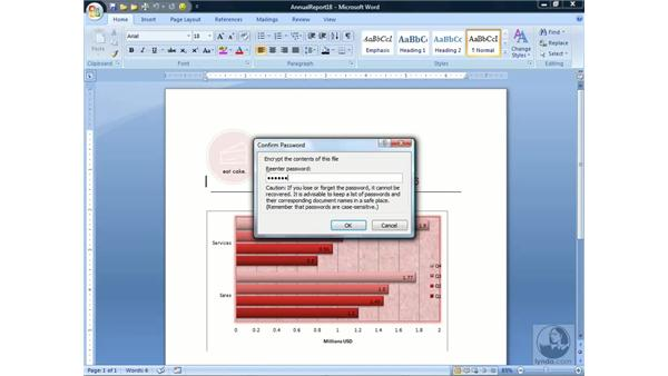 Encrypting a document: Word 2007 Essential Training