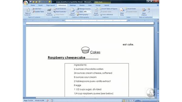 Creating a table of contents: Word 2007 Essential Training
