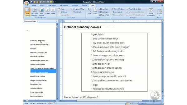 Using a document map or thumbnails: Word 2007 Essential Training