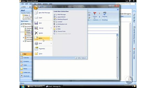 Using the Office button and the Quick Access toolbar: Outlook 2007 Essential Training