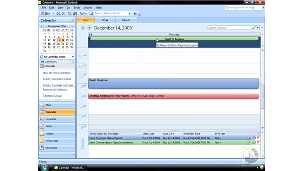 The different types of Calendar items: Outlook 2007 Essential Training