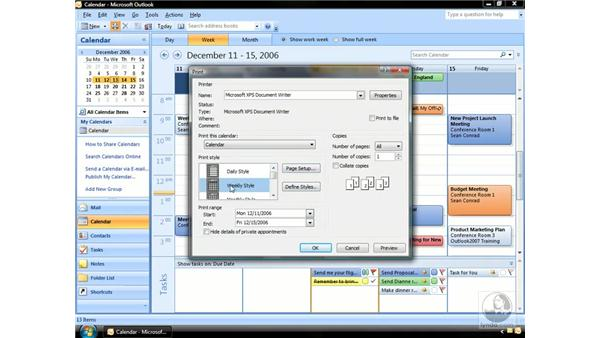 Printing the Calendar: Outlook 2007 Essential Training