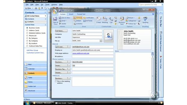 Creating a new Contact: Outlook 2007 Essential Training
