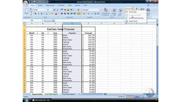 Inserting and deleting cells: Excel 2007 Essential Training