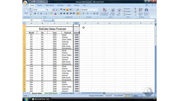 Width and height: Excel 2007 Essential Training