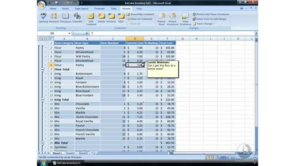 Providing comments on worksheets: Excel 2007 Essential Training