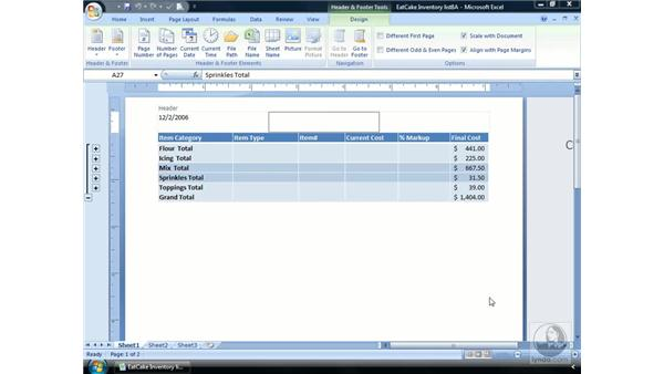 Headers and Footers: Excel 2007 Essential Training
