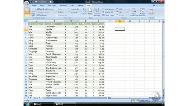 Hiding and Zooming: Excel 2007 Essential Training