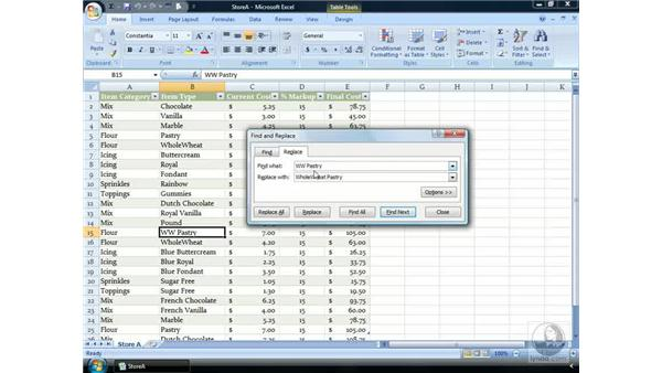 Find and Replace: Excel 2007 Essential Training