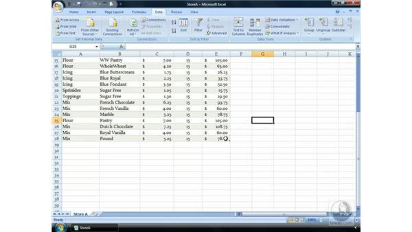 Removing duplicates: Excel 2007 Essential Training