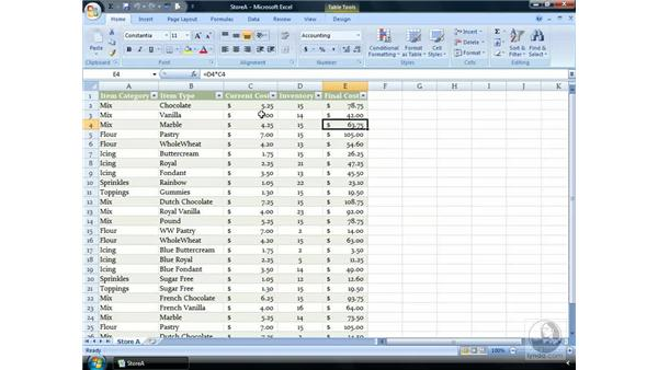 Relative and absolute referencing: Excel 2007 Essential Training