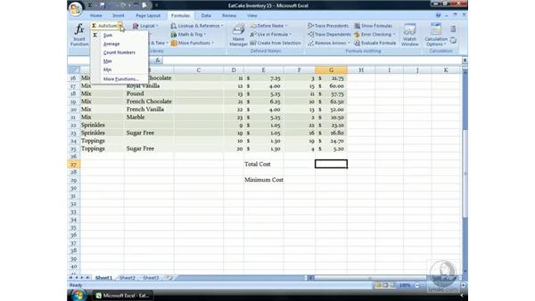 AutoSum: Excel 2007 Essential Training