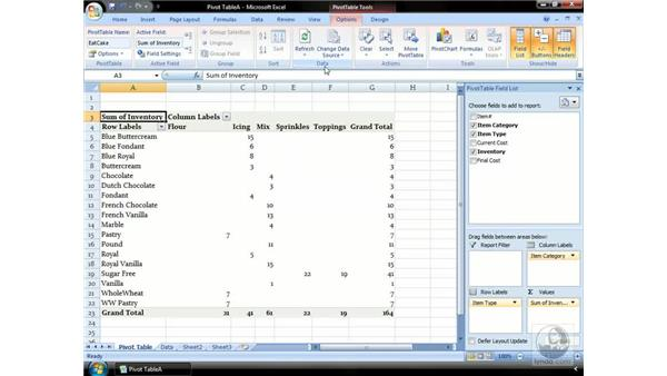 Laying out your PivotTable: Excel 2007 Essential Training