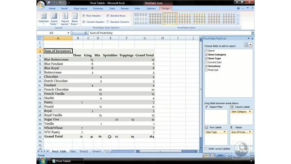 Designing your PivotTable: Excel 2007 Essential Training