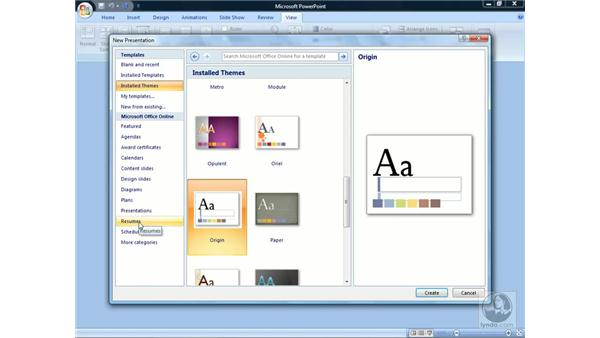 Creating new presentations: PowerPoint 2007 Essential Training
