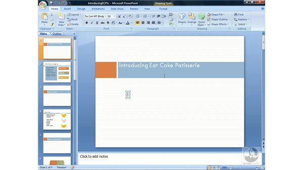 Adding text to a slide: PowerPoint 2007 Essential Training