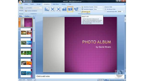 Using slide transitions: PowerPoint 2007 Essential Training