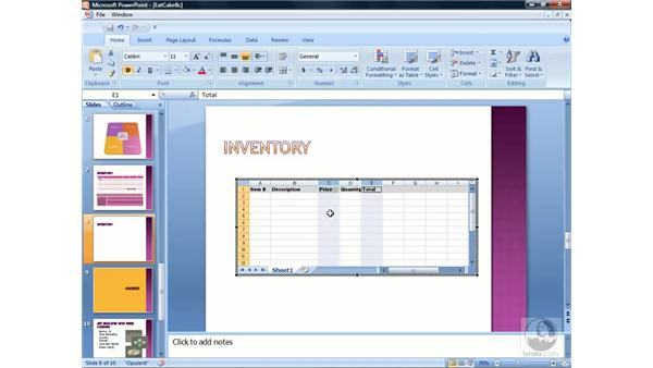 Inserting an Excel worksheet: PowerPoint 2007 Essential Training