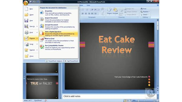 Protecting presentations: PowerPoint 2007 Essential Training